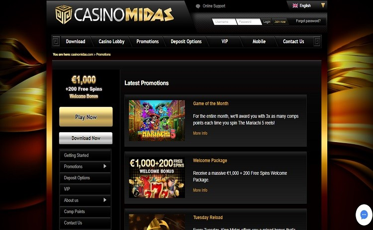 Midas casino bonus