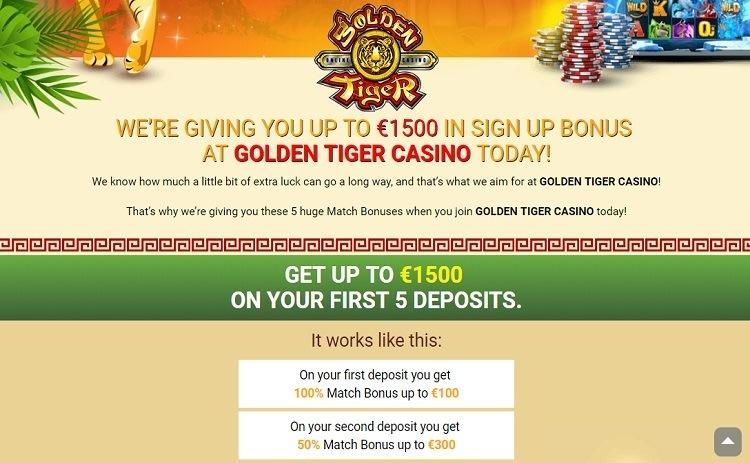 Golden Tiger casino bonus