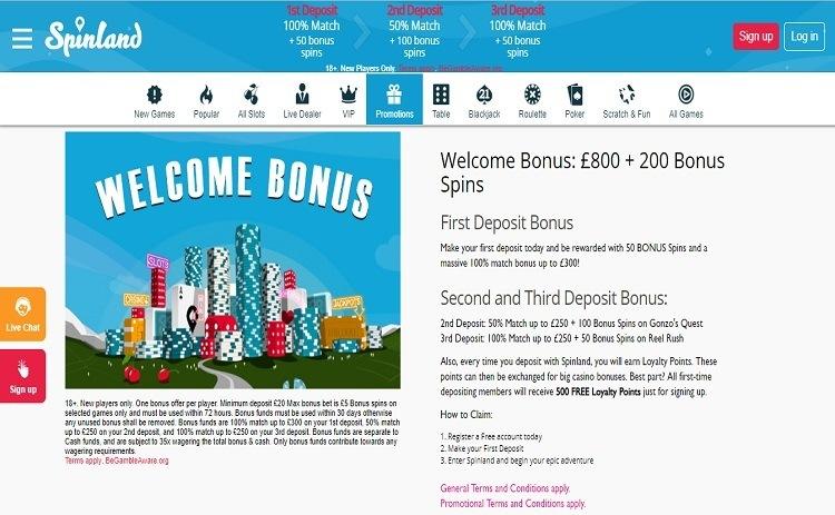 Spinland casino bonus